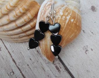 Hematite Earrings Heart UK Gift For Women Her Present Uk Shop Jewellery Birthday Ideas