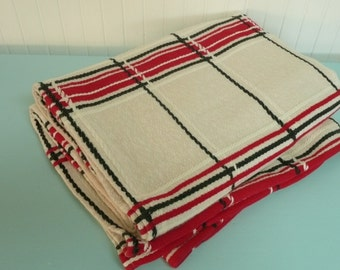 RESERVED 1960s Camp Blanket Bedspread, Red Plaid Woven Cotton, Cabin, Adirondack, Dorm Room Bedspread