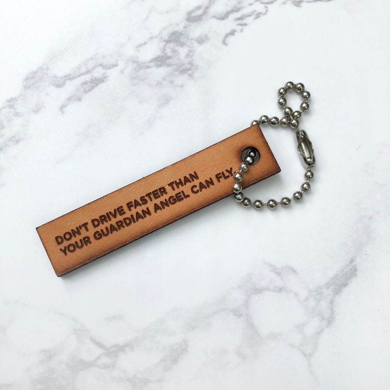 Ready To Ship Guardian Angel Engraved Leather Keychain Etsy