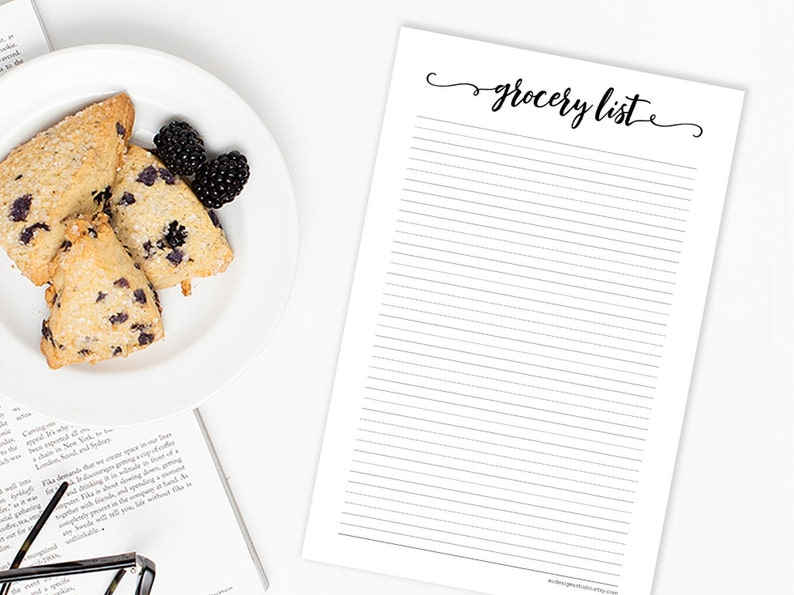Grocery List Digital Download  Printable Shopping List  Instant Download