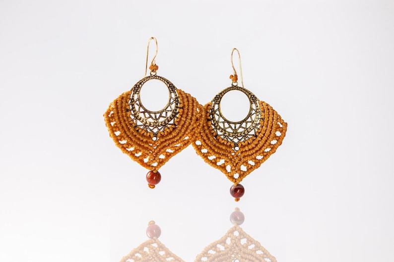 Unique Handmade Refined Macrame, Peacock Macrame Earrings Tribal earrings  Macrame Jewelry Camel Macrame Earrings Jasper Earrings