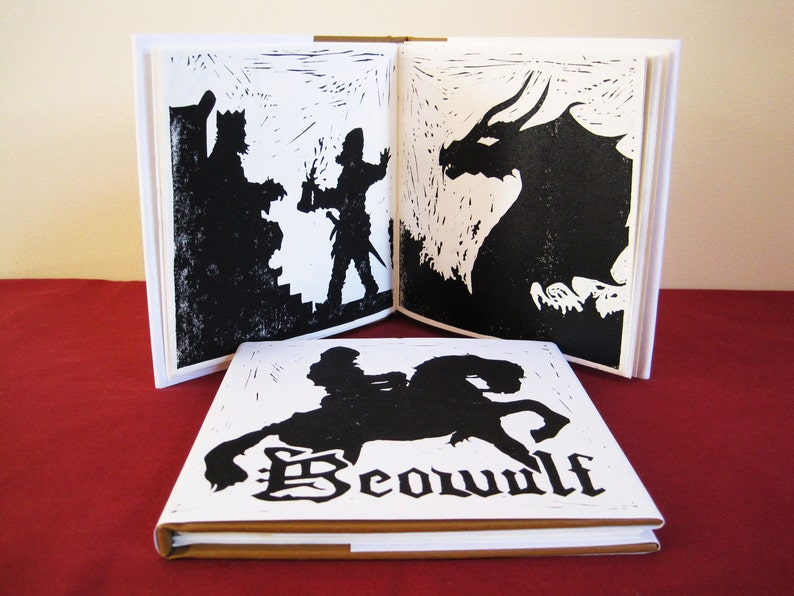 Beowulf  Illustrated Book Printed and Bound by Hand image 0