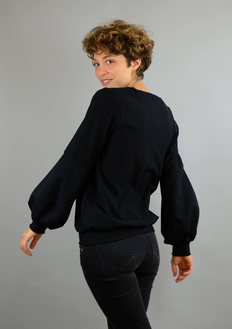 Oekotex jersey jumper SchwarzerPullover Cotton sweater with balloon sleeves in black balloon sleeve sweatshirt, black sweater
