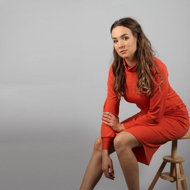 long sleeves autumn dress from light fabric Modal Midi Turtleneck dress in rust colour medium length dress with turtleneck in orange rust