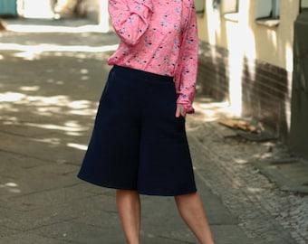 Culotte culotte Laurita, blue culotte, cotton, summer culotte, cotton pants, Culottes
