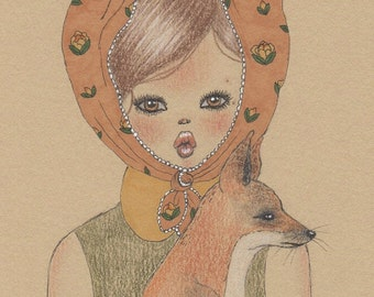 Girl and fox art print
