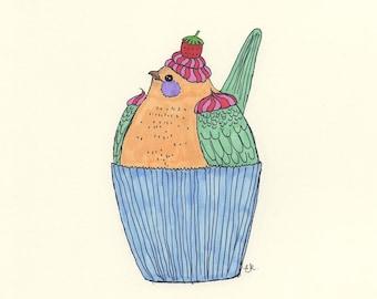 Cute bird cupcake drawing