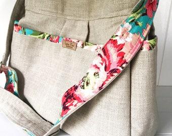 Linen and Floral Diaper Bag