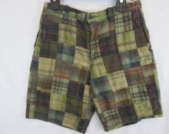b92239703aaa4 vintage Eddie Bauer patchwork madras shorts mens size 31 waist