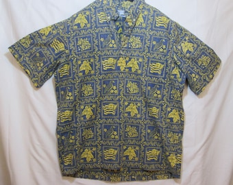 dc6beda9 vintage, Reyn Spooner Hawaii statehood button down pull over sea blue  yellow state bird flower flag mens shirt size L