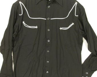 5dc3a652 vintage, Rockmount ranch wear TRU WEST western wear usa square pearl snap  heavy weight black rayon chest pockets mens size M