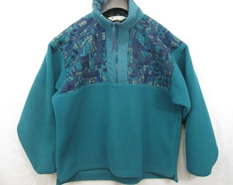 a9980b3a7ab vintage Columbia Sportswear half zip half aztec pullover green fleece made  in USA in mens size L