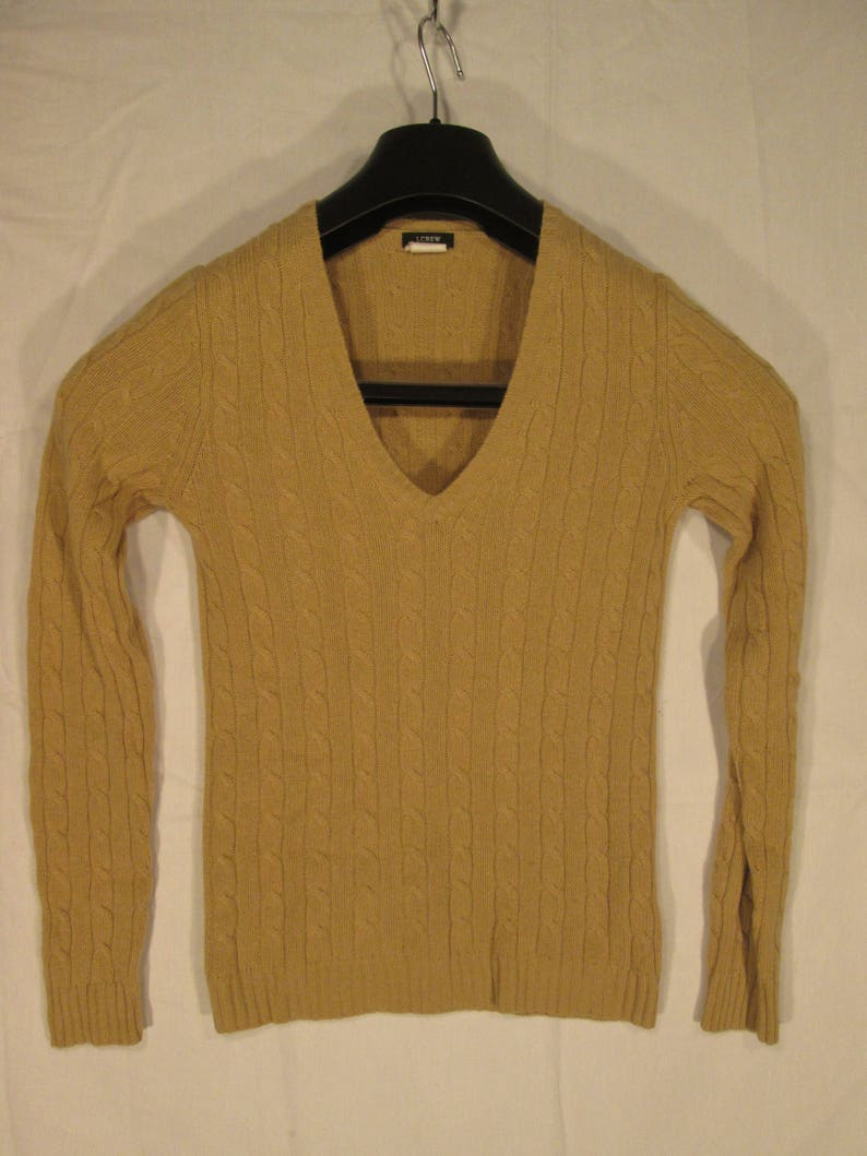 fad192c5a Vintage J CREW merino wool angora cashmere camel cable knit V
