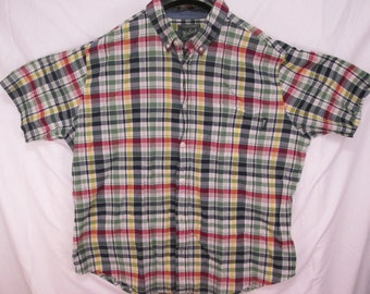vintage, Woolrich true blending madras plaid made in India mens size XXL or 1X