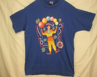 vintage, Ringling Bros Barnum Bailey clown T shirt juggling balls made in Usa dead stock 80s mens L