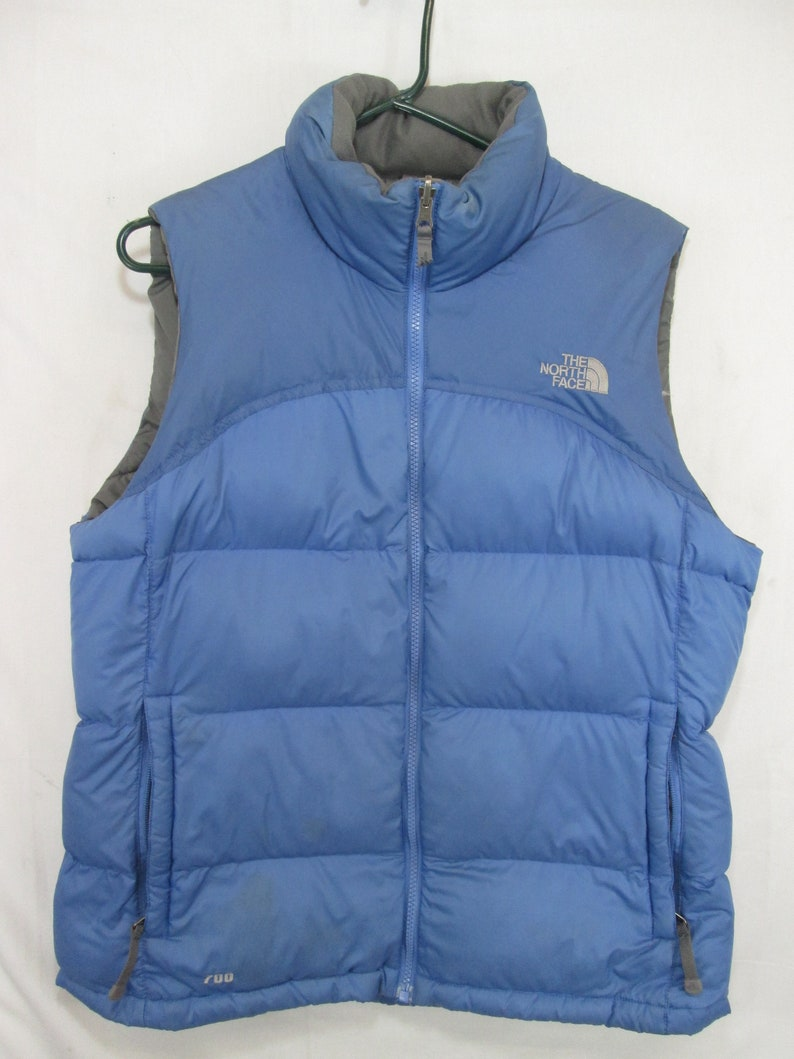 ed56eaa5f vintage, TNF The North Face powder blue 700 fill down vest full zip with  hand pockets womens size L mens size M