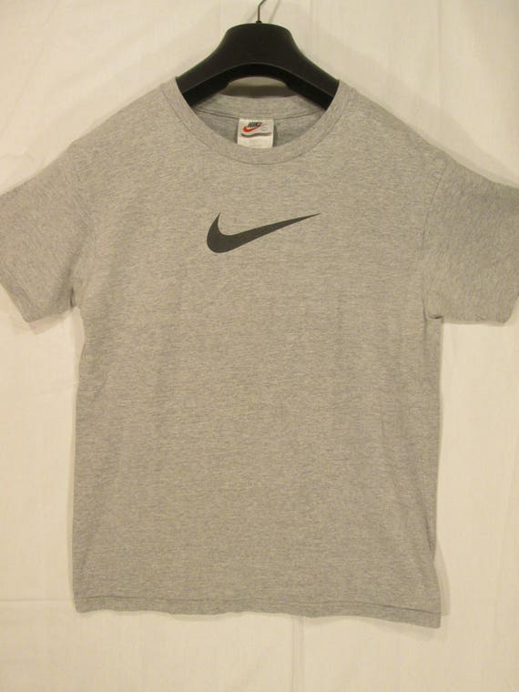 d9190a238 vintage NIKE gray heather T shirt with black SWOOSH logo on | Etsy
