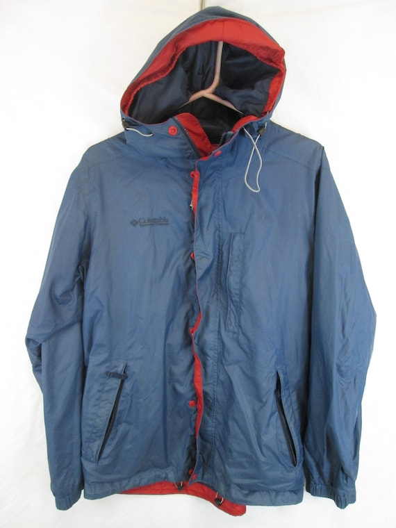 vintage Columbia Sportswear omni tech blue shell mesh lined hooded storm coat packable mens size small