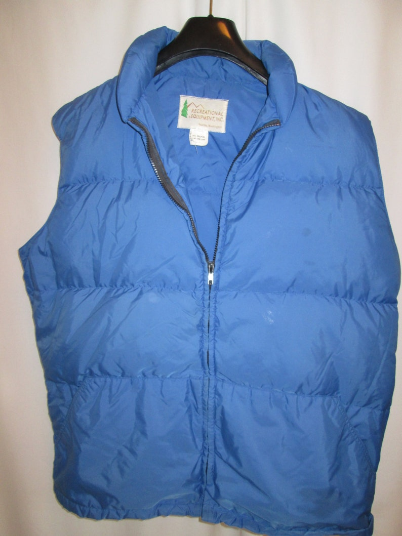 35aa3df36 vintage 7os, REI Seattle goose down fill puffer vest blue nylon mens XL