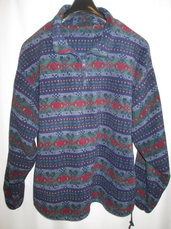 vintage REI Seattle denim blue wool blend quarter zip fleece pullover mens size L