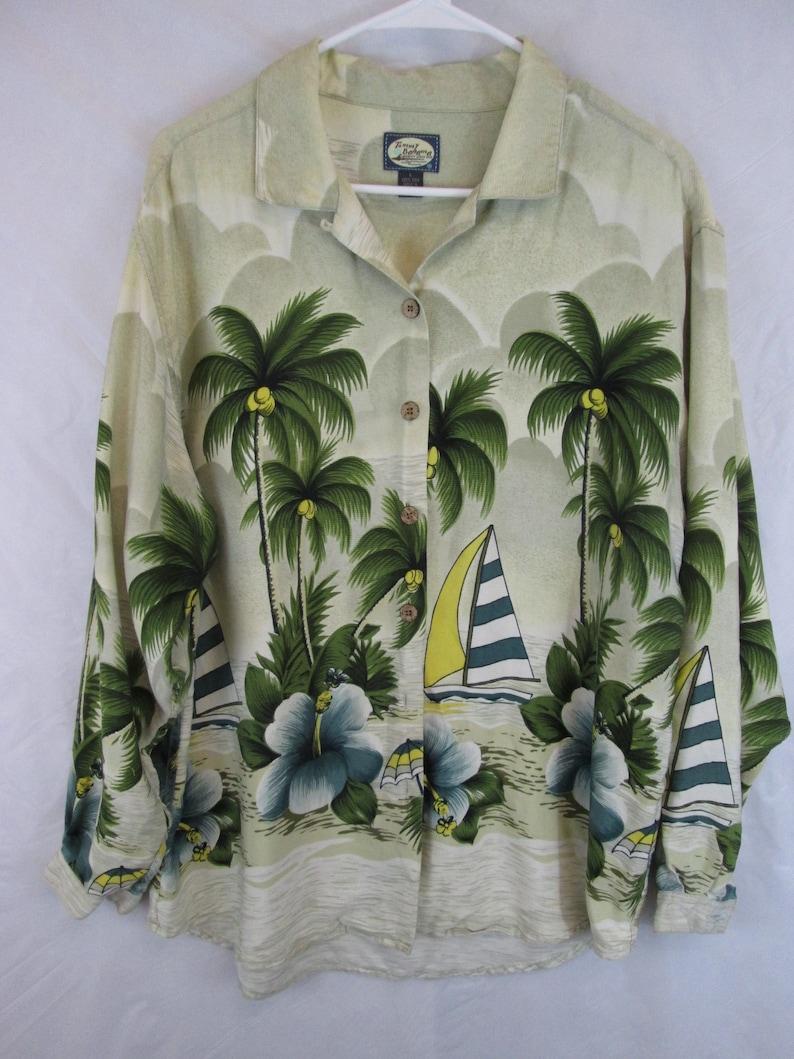 451ed8c2efb70e Vintage Tommy Bahama panel print sailboats and palm trees long