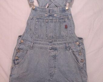 vintage, Jordache washed denim blue bib overalls shorts skirt womens size L or 11 - 13