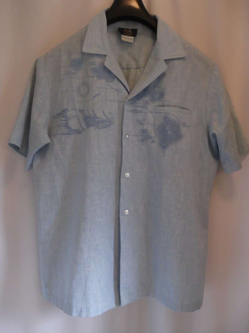 547f83d06 Vintage IOLANI made in HAWAII chambray island MAP | Etsy