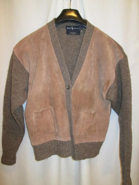 now on SALE, vintage RALPH LAUREN wool with suede