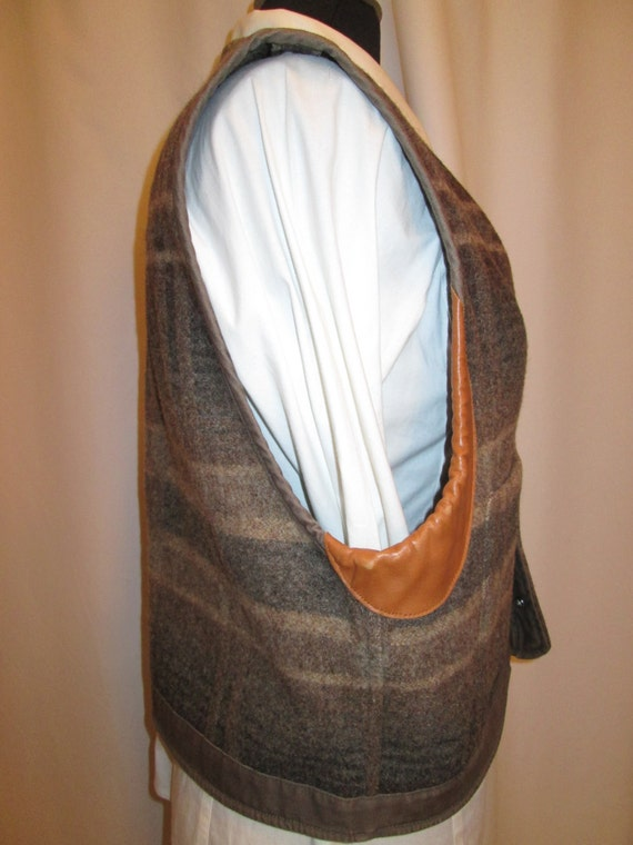 leather blanket Ralph sz and wool snap front Lauren canvas vintage L vest womens wIpqFE