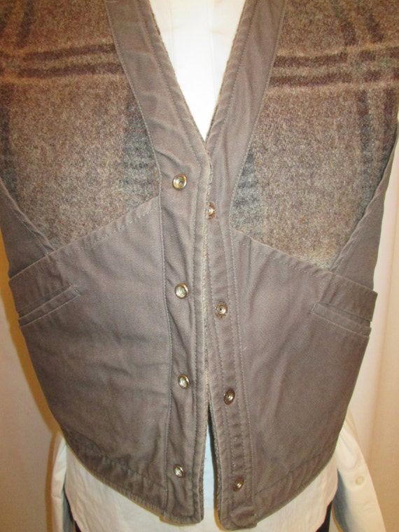 Ralph leather and Lauren front sz canvas snap blanket womens vest vintage L wool O4TqWc14w