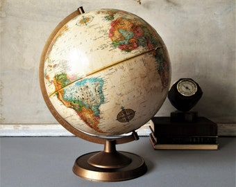 "Desktop Vintage Office Decor 12/"" World Classic Series Raised Globe Tripod Stand"