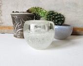 Vintage murano bowl, clear glass with controlled bubbles, modern glass, minimalist decor.