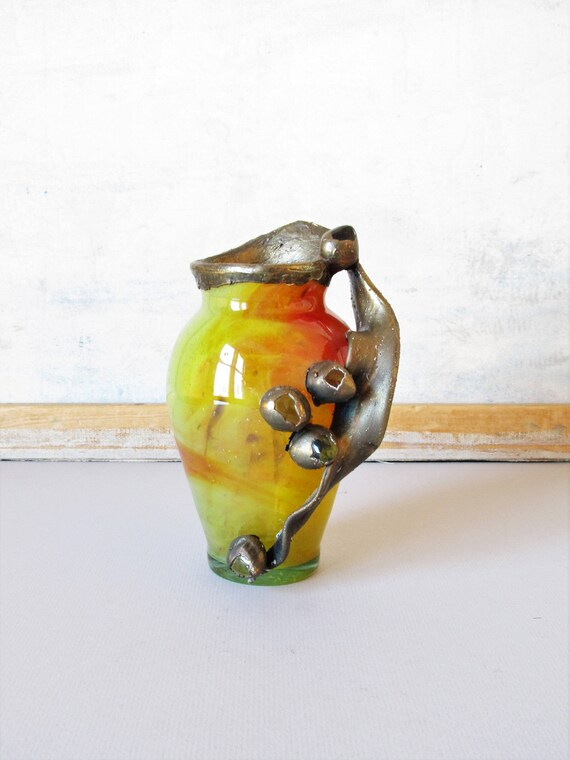 Vintage Ladybug Art Nouveau Vase Decorative Art Glass Boho