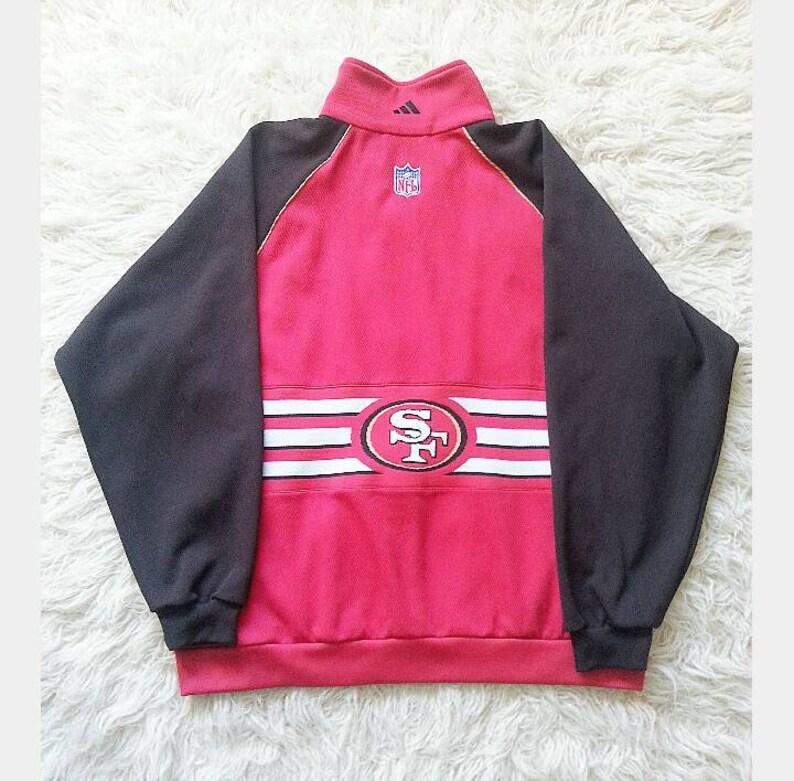Vintage 90's Men's Adidas San Francisco 49ers NFL Spell Out Coach Zip Up  Men's Sport Jacket XL