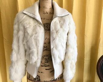 90s Vintage Rabbit Fur Bomber