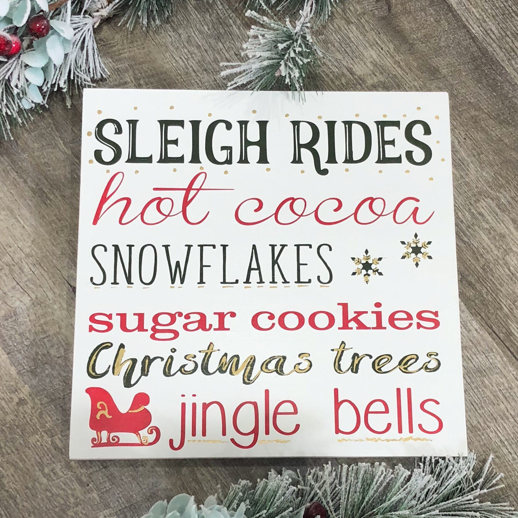 Sleigh Rides Subway Christmas Wood Sign - Christmas Sign - Christmas ...