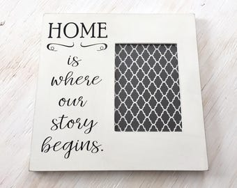 Home is Where Our Story Begins Frame - Family Frame - Painted Wood Frame - Living Room Decor - Housewarming Gift