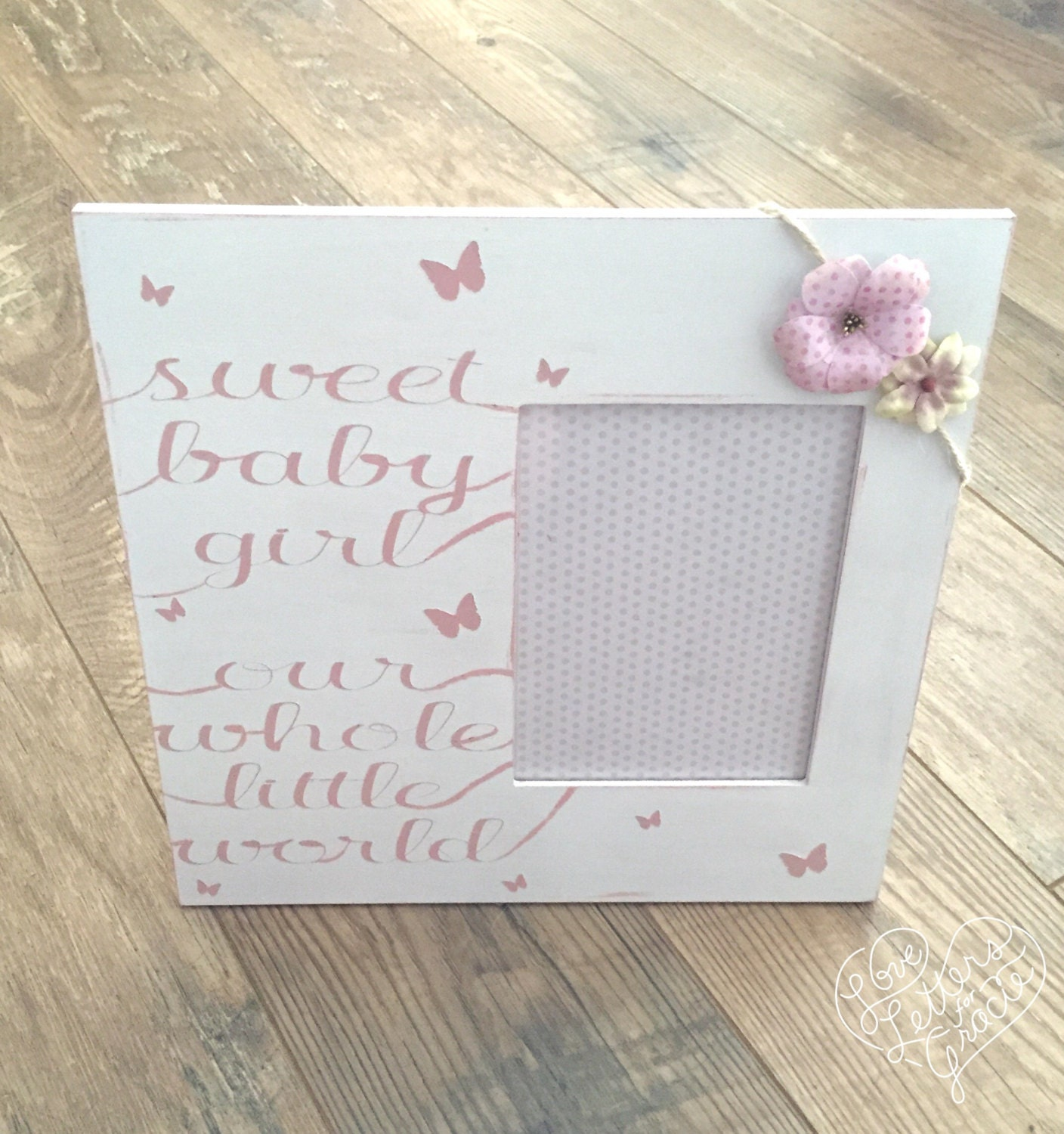 Sweet Baby Girl Pink and White Frame - Nursery Frame - Baby Shower ...