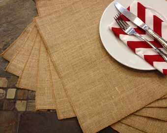 Burlap Placemats - set of 8 - Holiday Table