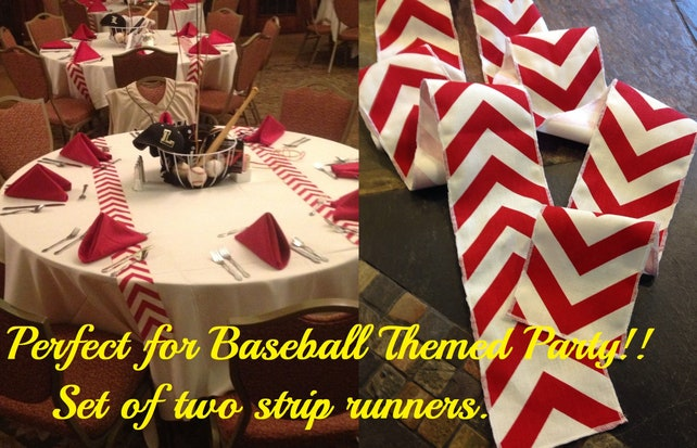 ORIGINAL Baseball Party Decorations Red Chevron Modern Wedding Table Runner - set of 2 in your choice of length - birthday bar mitzva