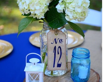 25 Burlap Wedding TABLE NUMBERS - Centerpieces - Custom Embroidered - as seen in Martha Stewart Weddings!