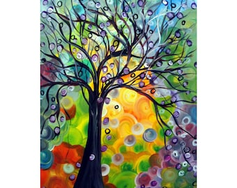 Olive Tree at Sunset Original Oil Painting Whimsical Art by Luiza Vizoli Colorful Canvas