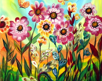 Spring Flowers Butterflies Happy Day Whimsical Painting, Girls Rainbow Wall Art, Kids Room Wall Decor, Nursery Boho Rainbow