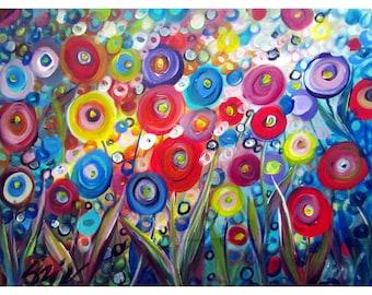 Raining Flowers Whimsical Colorful Painting Art by Luiza Vizoli Modern Painting Lizi V Whimsy Artwok