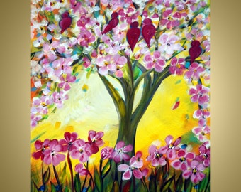 Happy Spring Whimsical Painting Girls Pink Flowers Wall Art, Kids Room Wall Decor, Nursery Happy Painting