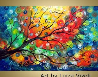 Sunset Whimsical Colorful Painting Landscape Tree Art by Luiza Vizoli Lizi V Artwork