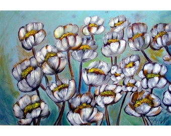 Blue Aqua White Flowers Whimsical Colorful Painting Luiza Vizoli Artwork