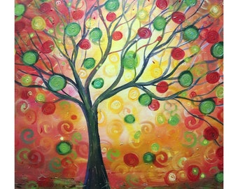 Olive Tree Sunset Landscape PEACE, Harmony, FRIENDSHIP and HOPE  Original Modern Whimsical Fantasy Abstract Large Colorful Painting 34x30