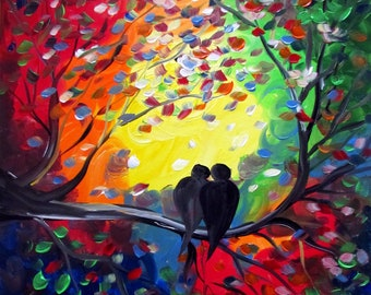 Whimsical Colorful Birds in Love Through Seasons Colorful Painting Luiza Vizoli Whimsy Art