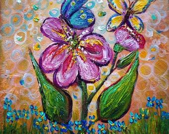Boho butterflies Original Painting, whimsical art,  girl's room decor, modern decor, boho girl's nursery, butterfly wall art